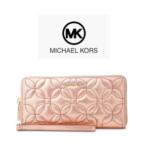 Michael Kors Travel Rose Gold Leather Wallet